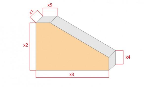 Schaumstoff-Zuschnitt-Rechteck mit Eckabschnitten