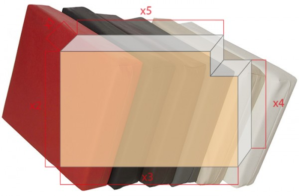 Bezüge für Schaumstoffzuschnitt Rechteck mit Ausschnitt