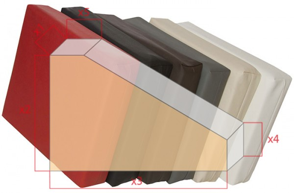 Bezüge für Schaumstoffzuschnitt Rechteck mit Eckabschnitten